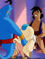 Aladdin strokes the Sultans tool while sucking Genies big fat blue cock